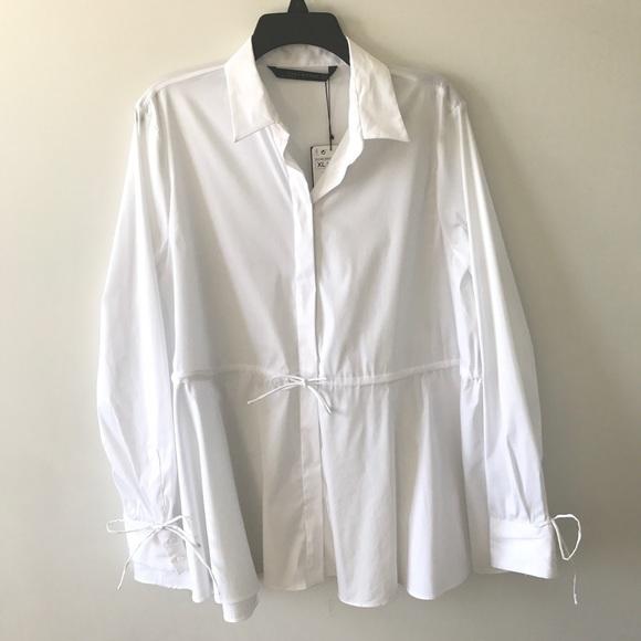 3e52448d922725 Zara Tops   White Long Sleeve Blouse Top Tie Waist Xl   Poshmark